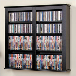 Prepac - Prepac Double Floating CD DVD Wall Media Storage Rack in Black - Prepac - CD & DVD Media Storage - BFW0349 - A beautiful mix of practical storage and home decor fashion the Double Floating Media Wall Storage cabinet is designed to manage a medium-sized collection of CDs or DVDs with style. Mount on your wall as a stand-alone multi-media cabinet or use two one above the other to create a storage system that allows easy access to your collection.