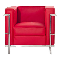 LexMod - Charles Petite Leather Armchair in Red - Urban life has always a quandary for designers. While the torrent of external stimuli surrounds, the designer is vested with the task of introducing calm to the scene. From out of the surging wave of progress, the most talented can fashion a forcefield of tranquility.