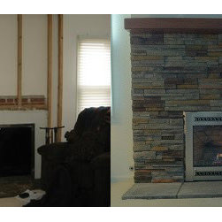"Fireplace Xtrordinair, Collinswood Design, Cultured Stone - Before/After Fireplace Projects - This is a great before/after look at an existing fireplace that we refaced with a stone veneer halfway up the wall, 20"" hearth stones and capped off the look with a cherry mantel shelf. We also added a direct vent gas fireplace insert which provides easy to use, efficient heat to the room."