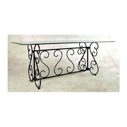 "Grace Collection - Wrought Iron Table Base for Rectangle Glass T - Finish: Aged IronThis exquisite wrought iron table base features beautifully curved metal to compliment your rectangular glass top.  Fits a 42x 72 glass top, this base will definitely add elegance to any room in your lovely home. * Sturdy Wrought Iron frame. For a 42 x 72 in. Glass Top. Unit ships K/D, disassembled in flat box. Can be easily assembled in minutes with a single 9/16"" wrench. Glass top not included. Table is made to order, production time is up to two weeks. 22 in. W x 49 in. L  x  29 in. H. Weight bearing capacity: 300 lbs"