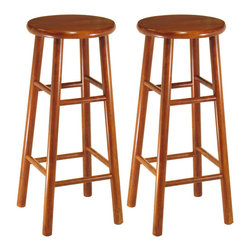 "Winsome Wood - Winsome Wood Set of 2 - Beveled Seat - 30 Inch Stool in Cherry - Cherry finish, 30"". Solid wood construction bar stool. All assembled. Good and basic item in modern living, Bevel seat provides comfort seating Barstool (2)"