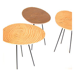 FIingerprint Coffee Table by The Modern Project - Fun, fun, fun. These handmade tables with grooved wood are made to resemble a fingerprint!
