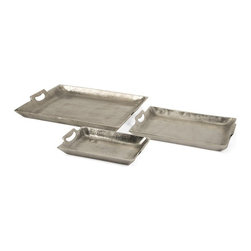 "IMAX CORPORATION - Lindi Aluminum Trays - Set of 3 - Unique in texture, the Lindi Aluminum trays feature a slightly rough texture. This set of three trays are versatile, stackable and full of endless possibilities. Set of 3 in various sizes measuring around 23.25""L x 18.25""W x 8""H each. Shop home furnishings, decor, and accessories from Posh Urban Furnishings. Beautiful, stylish furniture and decor that will brighten your home instantly. Shop modern, traditional, vintage, and world designs."