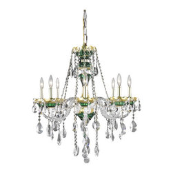 Elegant Lighting - Elegant Lighting 7810D26GN Alexandria 8-Light, Single-Tier Crystal Chandelier, F - Elegant Lighting 7810D26GN Alexandria 8-Light, Single-Tier Crystal Chandelier, Finished in Green with Clear CrystalsElegant Lighting 7810D26GN Features: