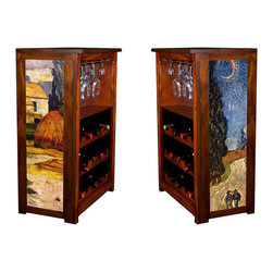"""Kelsey's Collection - Wine Cabinet 15 bottle Arles and Cypress Road - Wine Cabinet stores fifteen wine bottles and glassware with  artwork by Gauguin called """"Arles"""" and """"The Cypress Road"""" by Van Gogh giclee-printed on canvas side panels. Constructed with solid New Zealand radiata pine with a hand stained and hand rubbed medium reddish brown finish, which is then protected with a lacquer coat and top coat. The art is giclee printed on canvas with three coats of UV inhibitor to protect against sunlight, extending the life of the art. The canvas is then glued onto panels and inserted into the frames."""