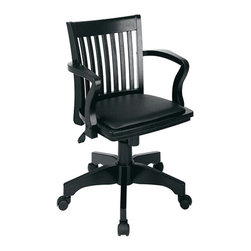 Office Star - Office Star Deluxe Wood Banker's Chair with Wood Seat in Fruit Wood Finish - Features: