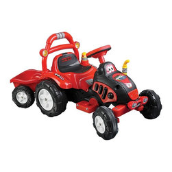 Lil Rider - Lil' Rider Battery Powered The King Tractor & - Bright Colors: Red and Yellow . Washable tires and body . Special trailer included . Rechargeable battery powered - Charge for 10-12 hours for 1-2 hours of continuous use. Battery: 6V 4.5AH. Speed: 2.5 mph . Forward and reverse action. Ages: 3-7 years . Weight Capacity: 88 lbs.. Dimensions: 46.46 in. L x 21.26 in. W x 23.23 in. H>To moms and dads of 3/7 year olds, Lil' Rider Farm 'n Fun Tractor & Trailer gives kids the new adventure and role play of riding plowing the field or bringing in the harvest. This is a toy that your kid will not stop talking about. You will be the talk of the block with one of the coolest Farm 'n Fun Tractors ever made. Also comes with special trailer for carrying toys or dirt!