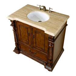 """Silkroad Exclusive - 36 Inch Traditional Single Sink Bathroom Vanity - This 36 inch traditional single sink bathroom vanity is a perfect center piece for your bathroom project.  This Brazilian Rosewood bathroom vanity features 2 Doors, 1 Drawer; Full Extension Ball Bearing Glides , and a Travertine counter top with a 16"""" Under Mount White Ceramic Sink that is Pre-Drilled for Standard Three Hole 8"""" Center (Not Included). Large opening in back for easy plumbing installation.  Dimensions: 36""""W X 23""""D X 36""""H (Tolerance: +/- 1/2""""); Counter Top: Travertine; Finish: Brazilian Rosewood; Features: 2 Doors, 1 Drawer; Full Extension Ball Bearing Glides; Hardware: Antique Brass; Sink(s): 16"""" Under Mount White Ceramic Sink; Faucet: Pre-Drilled for Standard Three Hole 8"""" Center (Not Included); Assembly: Fully Assembled; Large cut out in back for plumbing; Included: Cabinet, Sink; Not Included: Faucet, Backsplash"""
