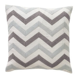 DwellStudio - Zig Zag Pillow by DwellStudio - The misty palette of the DwellStudio Zig Zag Pillow updates the popular chevron pattern. Against a clean cream background are alternating stripes of pale blue Mist and Grey. The striped applique and cover are both made out of crisp linen, which is then filled with a soft down feather insert. DwellStudio, founded in 1999 by Christiane Lemieux, specializes in home furnishings steeped in modern design. With a unique sense of color and a strong commitment to quality and innovation, DwellStudio continues to create its own distinctive interpretation of modern home furnishings. In the same creative spirit, the company encourages their customers to experiment with mixing various DwellStudio textile lines together.