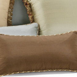 Frontgate - Silk Decorative Pillow with Cord - Masterfully sewn silk. Includes hypo-allergenic poly fiber fill insert. Hidden zipper. Because this bedding is specially made to order, please allow 4-6 weeks for delivery.. Our Decorative Throw Pillows are sewn from lustrous silk. Each finely crafted pillow features coordinating decorative trim (loop fringe or welt cord) and a plump poly fill insert.  .  .  . . Made in the USA of imported fabrics.