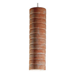 A19 - Strata Mini Pendant - Spice - With Canopy - Delicate and striking, Strata is slender cylinder enhanced by horizontal bands. The glaze is applied by hand, alternating stripes of matte and gloss finishes to make each Strata pendant a unique work of art. The glaze you choose takes your decorating options from contemporary to classic, inspired by the city or by nature.