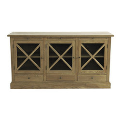 Ballard Designs - Belgard Cabinet - This well-made sideboard with a distressed oak finish comes at a great price point. Use it as storage for linens, serveware and glasses.