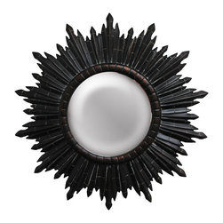 None - Round Dark Gold Sunburst Framed Mirror - Finish: Dark gold Material: Resin Hangs vertically