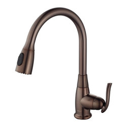 Kraus - Kraus Single Lever Pull Out Kitchen Faucet in Oil Rubbed Bronze - Faucet is constructed from solid brass