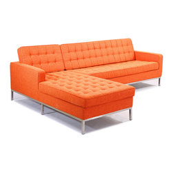 "Kardiel Florence Knoll Style Left Sectional, Cinnabar Houndstooth Twill - This stunning reproduction of the Florence Knoll 1956 ""Sectional Series"" is a Kardiel Signature reproduction.  Each piece is Handcrafted and features the original hardwood box frame, upholstered with Top Grain European Aniline Soft Leather. You will not find a higher quality reproduction of the Florence Series. All reproduction details have been taken into consideration, from the height of the stainless steel legs, to the diameter of the buttons, to the pitch angle of the back. Now you can have your own premium reproduction of the Florence Knoll 1956 series. Available in a variety of coordinating pieces including the club chair, the 2 and 3 seat sofa, the 2 and 3 seat bench, the ottoman and the Florence Knoll sectional. Created with the highest accuracy to detail you can have your own version of one of the most influential designer icons of the 20th century. Originally meant to complement the classic innovations of Saarinen and Bertoia, the style perfectly compliments todays modern home. From the traditional hardwood box frame construction to the Premium Top Grain Aniline Leather, you will not find a higher quality reproduction of the Florence."