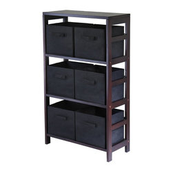 Winsome - Winsome Capri 3-Section M Wood Storage Shelf Bookcase with 6 Foldable Black Fabr - Shop for Caddies and Stands from Hayneedle.com! Sometimes storage shelves can be so dull. They're either too formal or too industrial and they never quite seem to meet your storage needs. The Capri 4-Section M Storage Shelf with 6 Foldable Black Fabric Baskets bucks all those categories though with clean lines and super-usability. Six removable collapsible black fabric baskets are soft and have handles for easy pullout storage. They fit snugly into a sleek wood solid and veneer frame made rich with a dark wood finish; the 3-section design is easy to access and still slim enough to fit in small spaces. The result is a totally modern look ready to store clothes in the bedroom linens in the bathroom and loads of laundry in the washroom. Assembly is required; 30-day warranty included.Basket DimensionsBaskets: 11W x 10D x 9H inchesAbout Winsome TradingWinsome Trading has been a manufacturer and distributor of quality products for the home for over 30 years. Specializing in furniture crafted of solid wood Winsome also crafts unique furniture using wrought iron aluminum steel marble and glass. Winsome's home office is located in Woodinville Washington. The company has its own product design and development team offering continuous innovation.