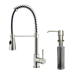 VIGO Industries - VIGO Stainless Steel Pull-Out Spray Kitchen Faucet with Soap Dispenser - Enhance your kitchen sink with this stylish and durable VIGO faucet