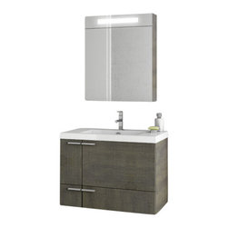 ACF - 31 Inch Grey Oak Bathroom Vanity Set - If your bathroom is in need of a bath vanity, why not consider this luxurious bathroom vanity from the ACF New Space collection? Perfect for more contemporary & modern settings, this luxury bathroom vanity is wall-mount and coated in grey oak.