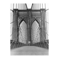 Artehouse Brooklyn Bridge Art Print - 18W x 24H in. - Bridge enthusiasts rejoice. Brooklyn Bridge is an artistically interesting view of one of the most famous bridges in the world. This is a limited edition black and white print on quality Somerset Velvet paper and comes ready for framing. The print measures 24L x 18 inches high and has a white border. A fantastic gift idea!