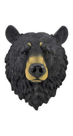 Black Bear Head Mount Wall Statue Bust - This awesome, cold cast resin replica black bear wall mount is a prefect addition to any jungle themed room. The head measures 16 inches tall, 13 inches wide and 7 1/2 inches deep. The detail is incredible, down to the hand painted eyes. This bear`s head is brand new, and makes a great gift for any bear fan or Chicago football fans.