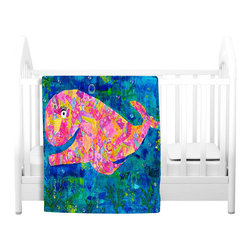 DiaNoche Designs - Throw Blanket Fleece - Wilma the Whale - Original artwork printed to an ultra soft fleece blanket for a unique look and feel of your living room couch or bedroom space. Dianoche Designs uses images from artists all over the world to create llluminated art, canvas art, sheets, pillows, duvets, blankets and many other items that you can print to. Every purchase supports an artist!