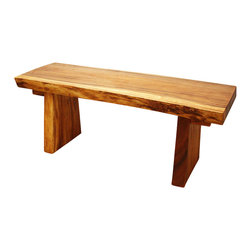 Kammika - Natural Edge Bench Sust Wd 48 x 17-20 x 18 inch Ht KD w Livos Eco Frndly Oak Oil - Our Sustainable Monkey Pod Wood Natural Edge Bench 48 inch x 17-20 inch x 18 inch height shipped Knock Down with Eco Friendly Natural, food-safe Livos Oak Oil Finish functions as entryway seating as well as table seats, fit corner nooks or serve as the main dining room centerpiece. This versatile sturdy bench can be used in pairs to create a party dining. This Sustainable Monkey Pod Wood Natural Edge Bench in Livos Oak Oil Finish has a straight back to be put against a wall, and shows off the natural edges of the wood on the front edge where they can be viewed and admired for their naturally flowing lines. Stack up two of these works of functional art as a shelving system when not in use. Hand rubbed in Livos natural non toxic Oak tone oil creates a highly water resistant and food safe finish. These natural oils are translucent, so the wood grain detail is highlighted; these are then polished to a matte finish. The light and dark portions of wood turn to darker shades of brown over time and the alkaline in the oils creates a honey orange color .There is no oily feel; and cannot bleed into carpets, as it contains natural lacs. Made from the thick branches of the quick-growing Acacia tree - where each branch is cut and carved to order (allowing the tree to continue growing), the wood is kiln dried, carved and sanded by skilled Thai artisans. All products are dried in solar and or propane kilns. No chemicals are used in the process, ever. Each piece is packaged with cartons from recycled cardboard with no plastic or other fillers. As this is a natural product, the color and grain of your piece of Nature will be unique, and may include small checks or cracks that occur when the wood is dried. Sizes are approximate. Products could have visible marks from tools used, patches from small repairs, knot holes, natural inclusions or holes. There may be various separations or cracks on your piece. There may be some slight variation in size, color, texture, and finish color.Only listed product included.