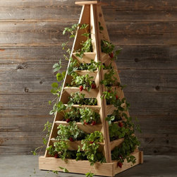 Cedar Terrace Planter - I love this pyramid-shaped planter, especially for strawberries.