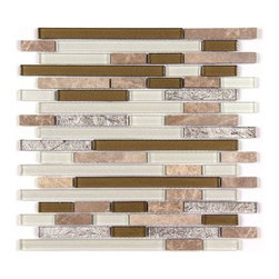 Stone & Co - All Marble Mosaic Glass and Stone blend Random Strip 12 x 12 Mosaic Tile Mag-442 - All Marble Mosaic Glass and Stone blend Random Strip 12 x 12 Mosaic Tile Mag-4421-ST