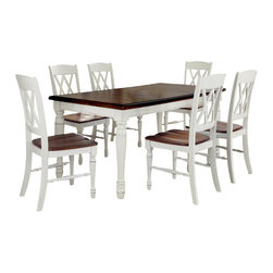 Home Styles - Home Styles Monarch 7 Piece Dining Set in White and Oak Finish - Home Styles - Dining Sets - 5020309 - The Monarch Rectangular Dining Table and Six Double X-back Chairs by Home Styles blends upscale design with functionality.