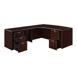 """DMi - Fairplex Right Executive Corner Bow Front """"L"""" Desk with 5 Drawers - Simplicity and value best describes the Fairplex Collection with its contemporary design, reeded edges and thermally fused laminate surfaces. It is an exceptional value for any small or starting entrepreneur. With the many configurations offered, Fairplex is the solution of any office need and any budget. Features: -Material: 3-Ply.-Consists of a corner bow front desk shell, box/box/file pedestal, return shell and file/file pedestal.-Pedestals ship set-up.-Locking pedestals.-Balanced panels with cam lock fasteners, wood dowels, screws and glue.-All top surfaces are 1'' thick consisting of 28mm thick thermally fused laminate on balanced panels and 3mm PVC reed shaped edges.-Fairplex collection.-Distressed: No.-Collection: Fairplex.Dimensions: -Corner bow front desk shell: 29'' H x 71'' W x 48'' D.-Box/box/file pedestal: 28'' H x 15.5'' W x 22'' D.-Return shell: 29'' H x 47.25'' W x 23.6'' D.-Dimensions: 29'' H x 71'' W x 95.25'' D.-Overall Product Weight: 405 lbs.Assembly: -Features:.-Assembly required."""