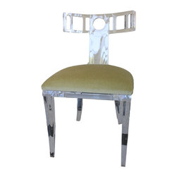Kim Acrylic Klismos Chair - This beautiful Klismos chair is made from European acrylic! It can be purchased through www.jamieshop.com at designer wholesale pricing!