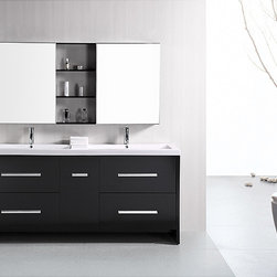 Design Element - Design Element Perfecta Modern 72-inch Doublesink Bathroom Vanity Set - The Perfecta 72-inch double vanity set is constructed of solid oak wood. The vanity is equipped with integrated acrylic drop-in sinks, four large drawers, and two mirrored, soft-closing medicine cabinets with joining shelves.