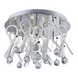 Warehouse of Tiffany - Ribbon Drops Crystal Chandelier - Add some elegance to your home with this chrome-finished Ribbon Drops crystal chandelier. This dynamic lighting element features generous rows of cascading crystals to catch the light. Setting: IndoorFixture finish: ChromeMaterials: CrystalShades: MetalNumber of lights: Ten (10)Requires 20 watt T3 G4 LED bulb (not included)Dimensions: 20 inches high x 20 inches wide x 6 inches longThis fixture does need to be hard wired. Professional installation is recommended.CSA Listed, ETL Listed, UL Listed