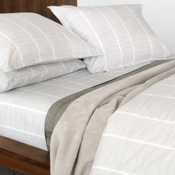 Area - Pins 100% Organic Cotton Flat Sheet - This flat sheet has a soft grey repeating pattern on 200 thread count cotton percale. A very nice feel to it, and a modern look for your bed.