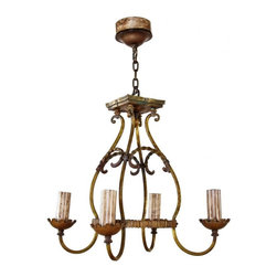 Ceiling Light Fixtures - Early 1930's american ornamental cast brass Spanish revival style Chicago Athletic club four electric candle ceiling light fixture.
