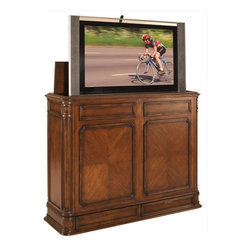 """TV Lift Cabinet - Crystal Pointe 51"""" R XL Hidden Pop up TV Lift Cabinet, Mahogany Brown - Finished on all four sides, there's no mistaking the Crystal Pointe XL Brown TV lift's classic design heritage with its intricately carved corner pillars, balanced proportions and finely crafted African Mahogany veneer. This led, flat screen, or plasma lift TV lift is finished on five sides, and it's unique design allows the component drawers to be reversed so they open from the front. This enables the Crystal Pointe to be positioned against a wall, as a room divider, or at the foot of a bed, and still have full access to the screen and the component drawers - it's three products in one."""