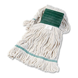 UNISAN - UNISAN Super Loop Wet Mop Head, Cotton/Synthetic, Medium, White - Premium-quality, four-ply cotton/synthetic yarn mop head for high-volume use. Absorbs up to seven times its own weight. Heavy-duty, 5 vinyl headbands. Launder in mesh bag. Use with clamp- or spring grip-style handles (sold separately).