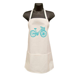 artgoodies - Organic Full Blue Bike Apron - These sturdy full aprons, with three pockets, have been hand printed with an original linocut block print designed by Lisa Price. Made of 100% organic fair trade cotton twill. Whether you're a butcher, a baker, or a candlestick maker this apron is for you!