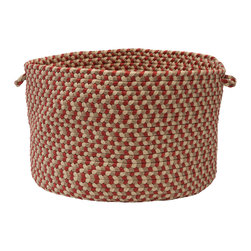 """Colonial Mills - Burmingham Storage Basket - Red Barron, 18"""" x 12"""" - Rich, classic colors and warm hues. This braided plum storage basket keeps things organized inside and out."""