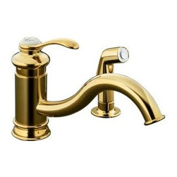 KOHLER - KOHLER K-12176-PB Fairfax Single-Control Kitchen Sink Faucet - KOHLER K-12176-PB Fairfax Single-Control Kitchen Sink Faucet with Sidespray, Less Escutcheon in Polished Brass