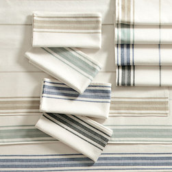 Ballard Designs - Set of 4 French Market Napkins - Made of 100% cotton. Monogram will be placed in the bottom center of one end of the table runner. Monogram will be placed in the top center of each placemat. Monogram will be placed in one corner of each napkin. Machine wash. With their crisp, clean stripes, our French Market Table Linen Collection brings casual charm to a dining room, breakfast nook or kitchen or take them along with you on your next picnic. Mix and match with other colors and linens in the collection. Monogram available. . . . . . Placemats are lined. able.