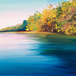 """Ann Rea - Bring home the Russian River with """"Still Water"""" by Ann Rea - """"This was the first study in oil of the Russian River I painted while my patron waded in the distance."""" -Ann Rea"""