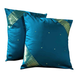 Indian Selections - Set of 2 Turquoise Decorative Handcrafted Sari Cushion Cover, 20 X 26 Inches (St - Size: 20 X 26 Inches with zipper enclosure