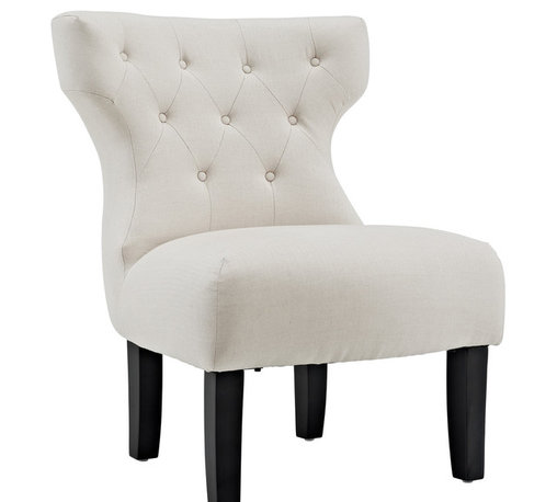 East End Imports - Howard Club Chair - The famous Greek Klismos design gets an update and goes uptown. Wonderful in white, with button tufted details and a deep comfort padded seat, this accent chair is ready to add an easy touch of elegance to your contemporary living or bedroom scenery.