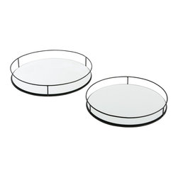 "Arteriors - Maya Trays - Set of 2 - Large - This set of three round mirrored trays easily nest for storage.  We especially like how the side rails rise in height as the diameter of the trays increase.  The round iron bar stock railing has been hand textured then finished in matte black.  The trays are food safe, but also are perfect to hold candles or bottles on a bar.  This entire set can nest inside the larger version's set of two, making it practical for entertaining as well.  Set of 3- Small tray: 12"" round  Medium tray: 15"" round  Large tray: 18"" round  Set of 2- Small tray: 21"" round  Large tray: 24"" round"