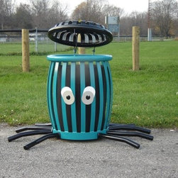 Paris Equipment 22 Gallon Octopus Creature Can Litter Receptacle - It will be easy to teach kids about putting trash in its place with the Paris Equipment 22 Gallon Octopus Creature Can Litter Receptacle. This fun, quirky trash receptacle will be perfect for parks and playgrounds, and kids will actually enjoy using. Crafted of quality steel, this receptacle features a bright blue paint on the octopus' body and black tentacles and lid. Two goofy eyes can be found on the receptacle as well. The tentacles offer extra stability in windy conditions. This receptacle weighs over 200 lbs so you can be sure it will stay wherever you put it.About Paris Equipment Manufacturing Ltd.Rest assured that your green spaces and park areas are in good hands when you add Paris Equipment products to them. Paris knows that community parks are more than just green spaces. They create a sense of well being and community. From benches, such as the Premier, through to picnic tables, litter receptacles and bike racks, Paris Equipment Manufacturing Limited has been built on providing safe, durable furnishings and amenities to make any park memorable.