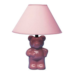 ORE International - 13 in. Ceramic Teddy Bear Accent Lamp - Requires 1 standard 60W bulb (bulb not included). UL listed. Cone shape shades. Teddy bear design. Baby Pink linen shade. 10 in. L x 10 in. W x 13 in. H (3 lbs.)Creates soft and subdued lighting. Playful and pretty this lamp will be a fun addition to your child's bedroom decor.