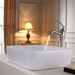 "Kraus - Kraus C-KCV-121-15000BN Brushed Nickel White Ceramic 19-1/5"" Ceramic - Combo Includes:White ceramic vessel sinkSolid brass vessel faucetPop-up drain (matches faucet finish)Sink Features:Fully covered under Kraus  limited lifetime warrantyConstructed of the finest grade vitreous chinaNon-porous glossy, baked on finish is highly durable and scratch resistantHandmade by skilled artisansAdd an elegant touch to your bathroom with a Kraus ceramic wash basinThis bathroom sink will enhance any home improvement remodelDesigned for above-the-counter installationStandard 1-3/4"" drain opening - designed to easily connect to waste lines, including P-trapsExtra secure mounting assemblyAll necessary mounting hardware includedCertifications and Listings Include: UPC, cUPC, CSA, IAPMO, ANSI and SCCFaucet Features:Fully covered under Kraus  limited lifetime warrantyAll-brass faucet constructionHigh-quality, corrosion and rust resistant triple-plated finish - finish covered under lifetime warrantySingle handle operationTall design for use with vessel (above-the-counter) sinksADA compliantLow lead compliant - complies with federal and state regulations for lead contentDesigned to easily connect to standard U.S. plumbing supply bibsExtra secure mounting assemblyAll necessary mounting hardware includedCertifications and listings include: UPC, cUPC, CSA, IAPMO, ANSI and SCCSink Technologies and Benefits:The Vessel Advantage: Beyond uniqueness and their distinctive modern design, vessel sinks also present a couple of functional advantages. Because the sink is raised off the countertop, overall bathroom clutter presents less of an issue as items are merely level with or below the sink rim,"