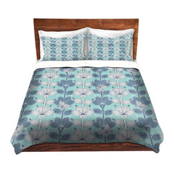 DiaNoche Designs - Duvet Cover Microfiber by Julia Grifol - White and Blue Flowers - Super lightweight and extremely soft Premium Microfiber Duvet Cover in sizes Twin, Queen, King.  This duvet is designed to wash upon arrival for maximum softness.   Each duvet starts by looming the fabric and cutting to the size ordered.  The Image is printed and your Duvet Cover is meticulously sewn together with ties in each corner and a hidden zip closure.  All in the USA!!  Poly top with a Cotton Poly underside.  Dye Sublimation printing permanently adheres the ink to the material for long life and durability. Printed top, cream colored bottom, Machine Washable, Product may vary slightly from image.