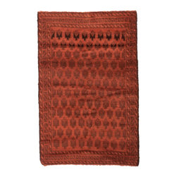 West of Hudson - Overdyed Vintage Tribal Burnt Orange Rug, 2.8x4.3 Ft. - Handknotted one of a kind over-dyed rug with vibrant colors. West of Hudson is proud to offer authentic vintage and new hand knotted rugs that that are carefully selected for our exclusive overdye collection. Each rug is a unique work of art. 100% handmade from start to finish.